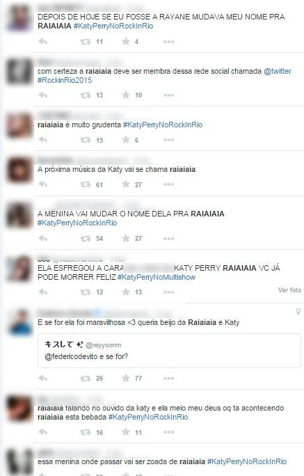 Tweets sobre fã  que subiu no palco no show de Katy Perry no Rock in Rio (Foto: Reprodução / Twitter)
