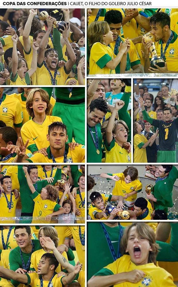 julio cesar, filho mosaico seleção brasileira copa das confederações (Foto: Editoria de Arte)