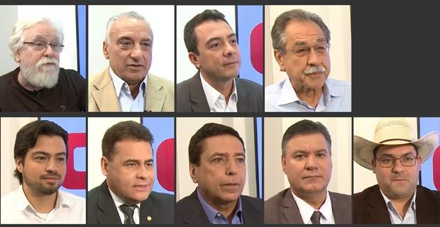 Os candidatos Albertão (PSOL), Carlos Roberto (PSDB), Eli Corrêa Filho (DEM), Elói Pietá  (PT), Guti (PSB), Jorge Wilson Xerife Consumidor (PRB), Martello (PSD), Nefi Tales (PPL) e Wagner Freitas (PRB) (Foto: G1)