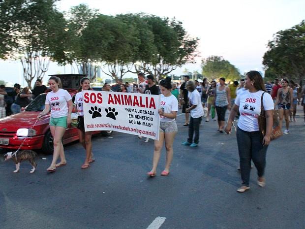 Passeata ocorreu na Ponta Negra (Foto: Jamile Alves/G1 AM)