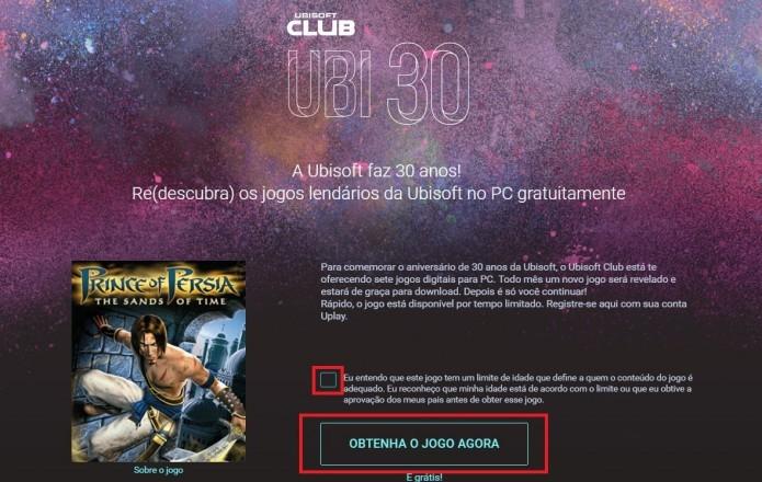 Ubisoft Club: marque a caixa de seleção indicando ciência do conteúdo e clique em Obtenha o jogo agora (Foto: Reprodução/Paulo Vasconcellos)