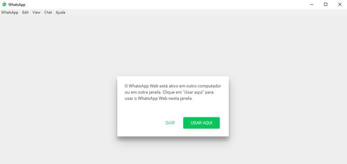 WhatsApp Desktop e Web não podem ser usados simultaneamente (Foto: Reprodução/Barbara Mannara)