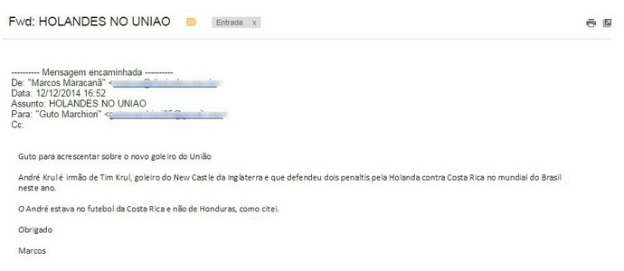 E-mail da assessoria do União Barbarense falando que Andre Krul é irmão de Tim Krul (Foto: Reprodução)