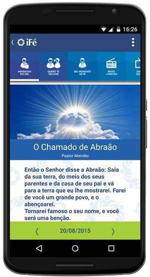 'iFé', aplicativo que conecta igrejas a evangélicos, tem bate-papo com pastores e realiza pagamento online de dízimo. (Foto: Divulgação/iFé)