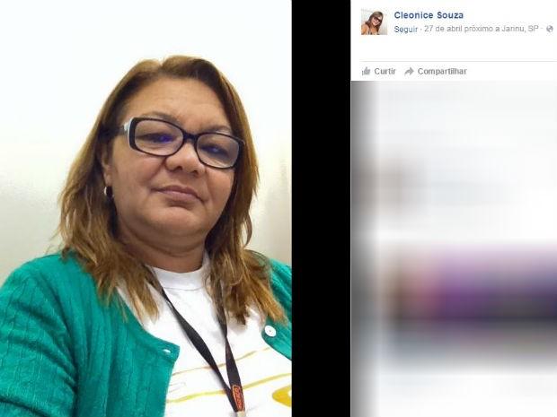 Cleonice Souza morreu após ser atingida por estrutura de ponto de ônibus (Foto: Reprodução/Facebook)