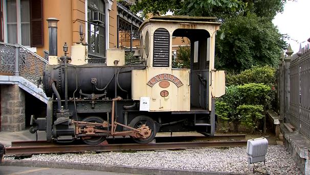 Locomotiva Maria Fumaça, a primeira do Porto de Santos (Foto: Reprodução/TV Tribuna)