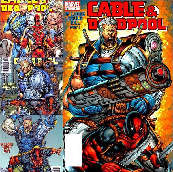 Capas de HQs com os personagens Deadpool e Cable (Foto: Instagram)