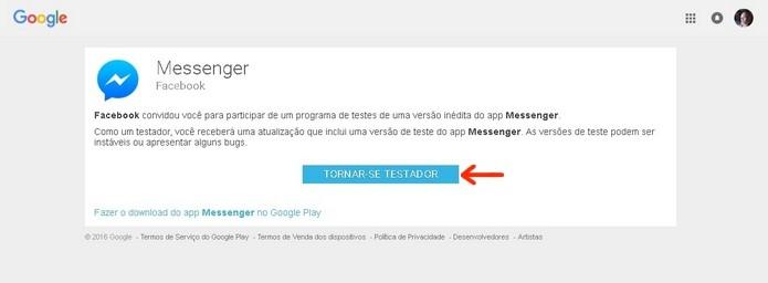 Página do programa Beta do Messenger para Android (Foto: Reprodução/Raquel Freire)