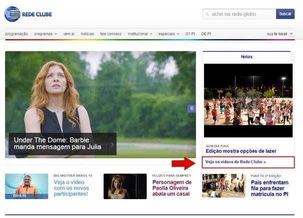 Ao navegar no sita da Rede Clube, você pode acessar o catálogo de vídeos clicando em 'Veja os vídeos da Rede Clube' (Foto: reprodução/Rede Clube)