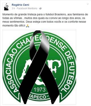 Rogério Ceni mensagem acidente avião Chapecoense (Foto: Reprodução: Facebook)