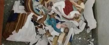 Homem invade Missa de Cinzas e destrói imagens (Divulgação/PM)