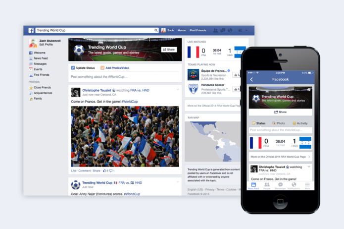 Facebook reúne posts de amigos e páginas sobre a Copa com o Trending World Cup (Foto: Divulgação)