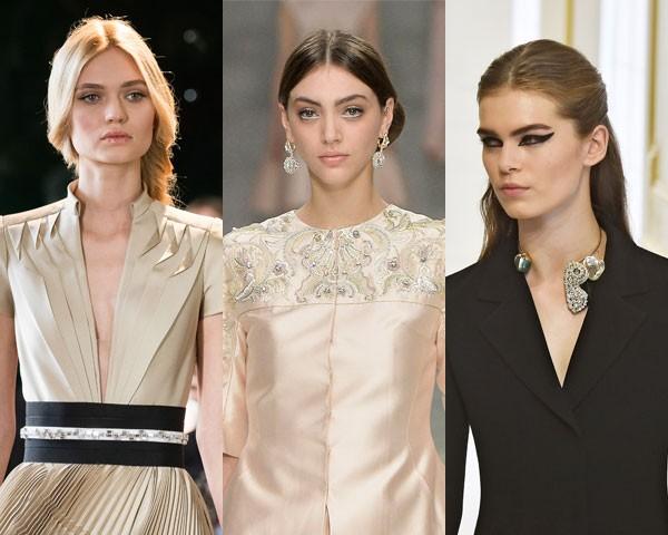As diversas maneiras de usar os cabelos ao meio: Stéphane Rolland, Guo Pei e Dior (Foto: Getty Images)