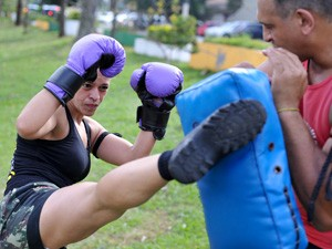 Marisa mostra alongamento e resistência (Foto: Raul Zito/G1)