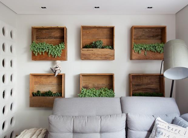 Living   Para trazer o verde para o lar, a solução de Andrea foi instalar atrás do sofá nichos de madeira de demolição, desenvolvidos pela Cali Paisagismo  (Foto: Ricardo Bassetti/Divulgação)