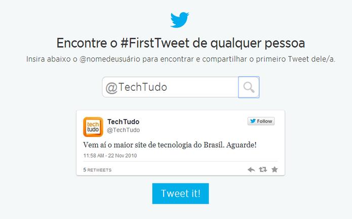 #FirstTweet é a ferramenta oficial do Twitter para localizar primeiro tuíte no aniversário da rede social (Foto: Reprodução/Elson de Souza)