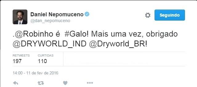 Daniel Nepomuceno, presidente do Atlético-MG, confirma Robinho (Foto: Reprodução/Twitter)