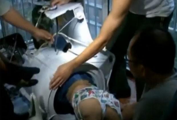 Resgate ocorreu em Xuzhou, na província chinesa de Jiangsu, (Foto: Reprodução/YouTube/ODN)
