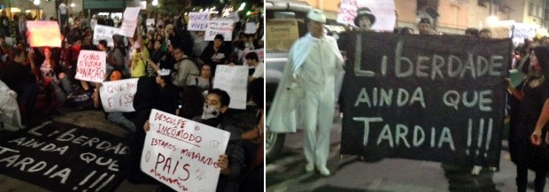 Manifestantes saíram de preto, com cartazes, em direção ao Centro (Foto: Jéssica Balbino / G1)