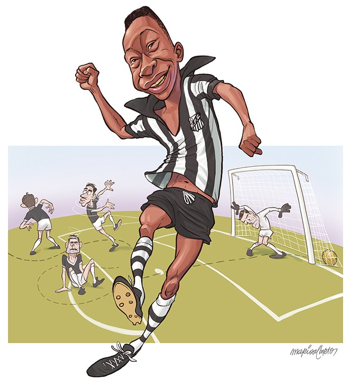 Pelé 60 anos primeiro gol Santos Corinthians Santo André charge ilustração 690 (Foto: Mario Alberto)