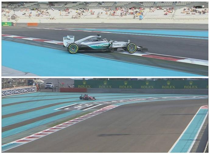 Lewis Hamilton e Sebastian Vettel escaparam da pista no 3º treino livre em Abu Dhabi (Foto: Divulgação)