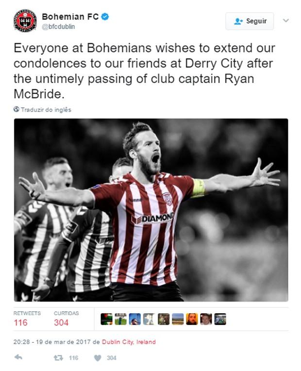 Bohemian Football Club lamenta morte de Ryan McBride (Foto: Reprodução)