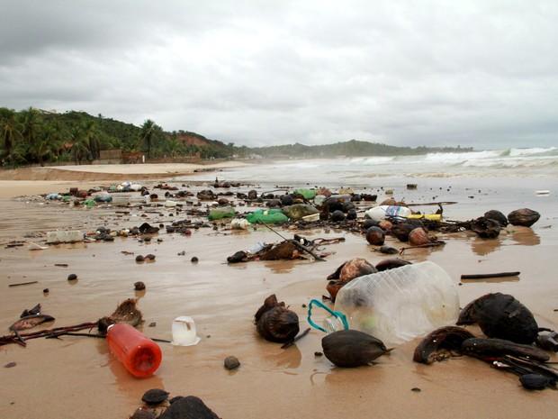 Em período de chuva volume de plástico aumenta nas praias do litoral alagoano (Foto: Waldson Costa / G1)