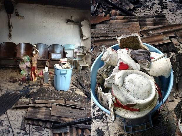 Templo de Bueno de Andrada ficou destruído após incêndio (Foto: Arquivo pessoal)
