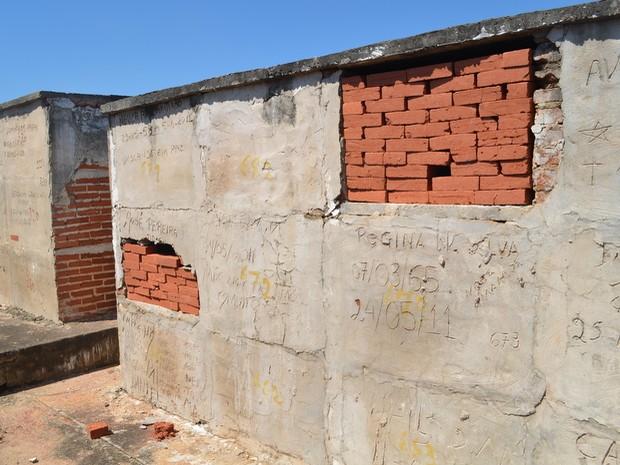 Túmulos são fechados com pilha de tijolos sem cimento no Cemitário da Vila Rezende em Piracicaba (Foto: Claudia Assencio/G1)