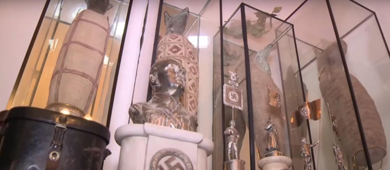 Busto de Hitler está entre artefatos nazistas encontrados perto de Buenos Aires (Foto: Reprodução/YouTube/GONEWS)