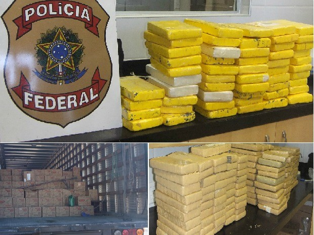 Droga foi apreendida em caminhão pela Polícia Federal (Foto: Polícia Rodoviária Federal)