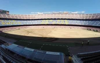 Tapete novo: Barça troca gramado do Camp Nou antes de iniciar temporada