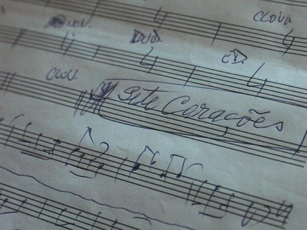 Partitura do frevo 'Sete Corações', composto pelos maestros protagonistas do filme (Foto: Reprodução/Sete Corações)