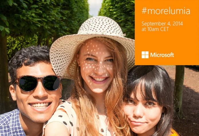 Microsoft divulgou convite supostamente fotografado com a câmera frontal do Lumia 730 (Foto: Divulgação/Microsoft)