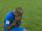 Em jogo nervoso, Neymar reclama, se irrita e, por fim, cai no choro