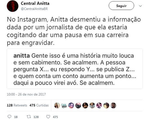 Anitta desmente boato de que estaria grávida (Foto: Reprodução/Instagram)