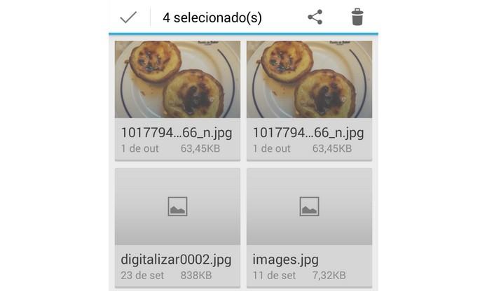 Pasta Downloads do Android com exibição em grade (Foto: Reprodução/Raquel Freire)