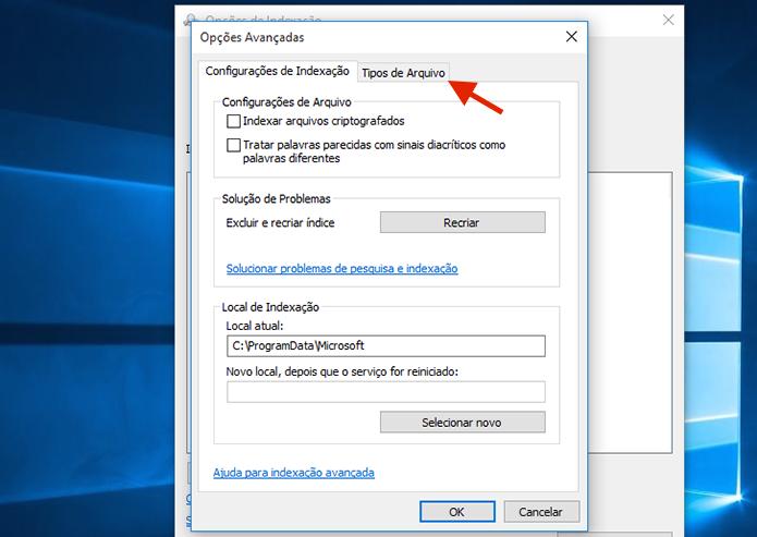 Acessando as configurações para tipos de arquivos das Opções de Indexação do Windows 10 (Foto: Reprodução/Marvin Costa)