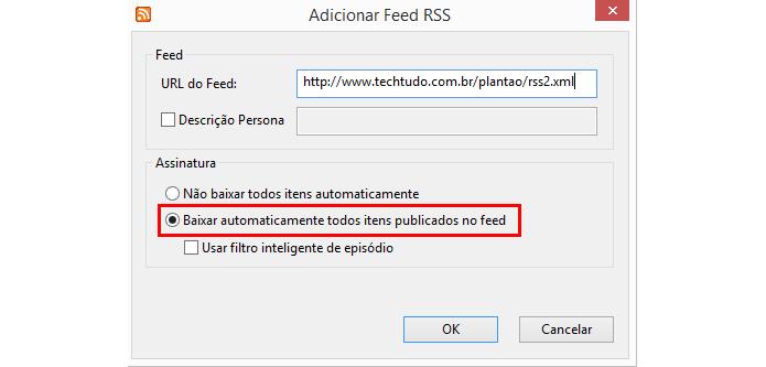 Opção permite baixar torrents adquiridos por RSS automaticamente (Foto: Reprodução/uTorrent)