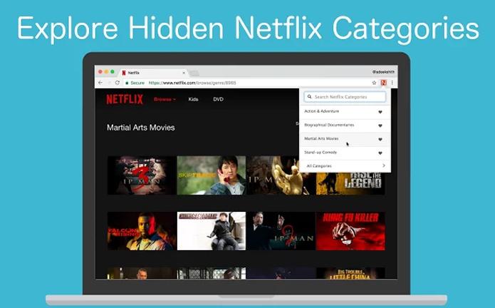 Extensão dá acesso fácil ao catálogo oculto do Netflix (Foto: Reprodução/Chrome)