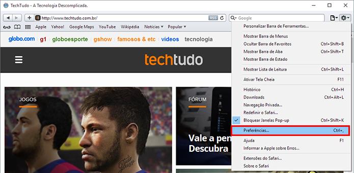 Acesse as preferências do Safari para Windows (Foto: Reprodução/Paulo Alves)
