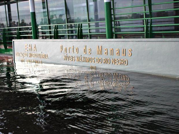 Área do Porto de Manaus onde estão registrados os anos das maiores cheias (Foto: Marcos Dantas/G1AM)