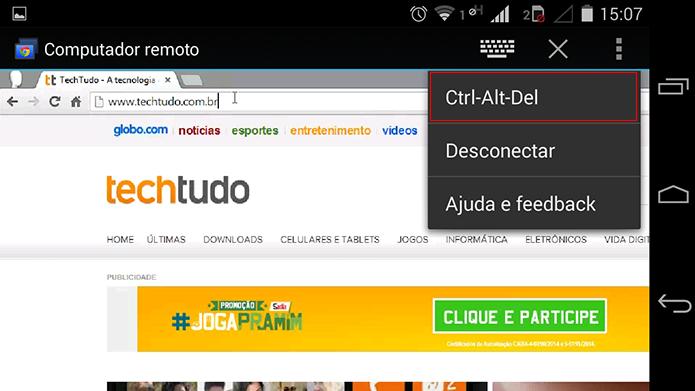 Famoso comando Ctrl-Alt-Del também está disponível no celular (Foto: Reprodução/Paulo Alves)