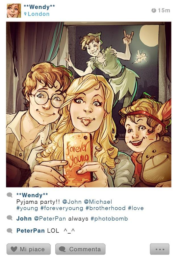 Peter Pan faz 'photobomb' em foto de Wendy. Ilustração faz parte da série 'Selfie Fables' (Foto: Divulgação/Simona Bonafini)