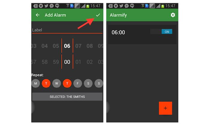 Finalizando a configuração de um alarme com músicas do Spotify com o Alarmify para Android (Foto: Reprodução/Marvin Costa)