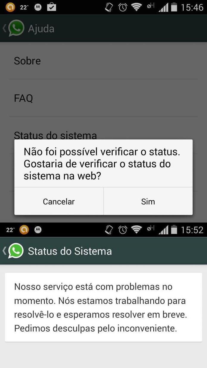 Mensagens alertam que WhatsApp está fora do ar para usuários do Brasil, em portguês (Foto: Reprodução/WhatsAoo)