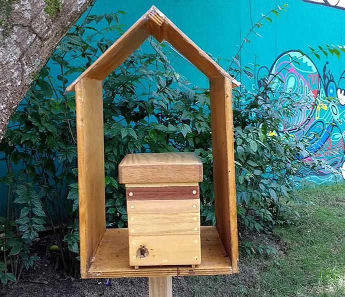 Meliponicultor ensina a fazer casinhas para abelhas (Foto: Carolina Berger/Gshow)