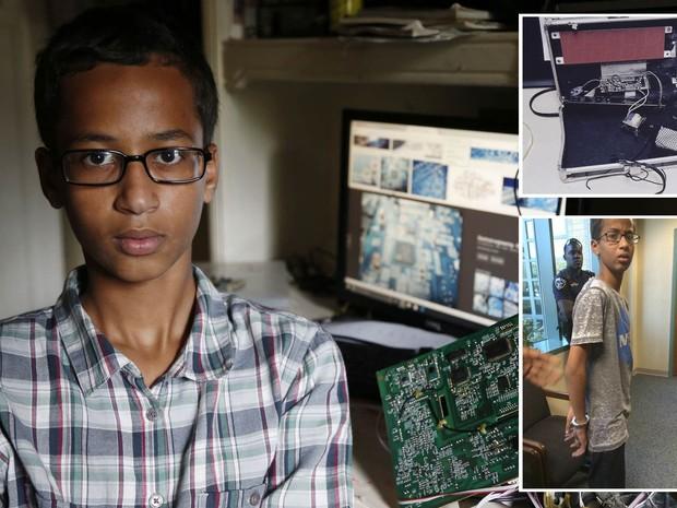 O jovem Ahmed Mohamed, de 14 anos, posa para foto em casa em Irving, no Texas (EUA). Ele foi algemado e detido pela polícia após levar para a escola um relógio que ele mesmo construiu, e a peça ser confundida com uma bomba (Foto: Vernon Bryant/The Dallas Morning News via AP; Irving Police via AP; Reprodução/Twitter/@anildash)