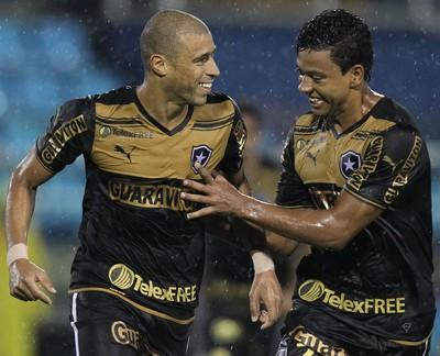 Jorge Wagner e Wallyson comemoram, Duque de Caxias x Botafogo (Foto: Satiro Sodre/SSPress)