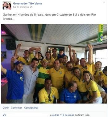 Tião Viana comemora vitória do Brasil sobre Camarões e destaca palpite certeiro em bolões (Foto: Reprodução/Facebook)